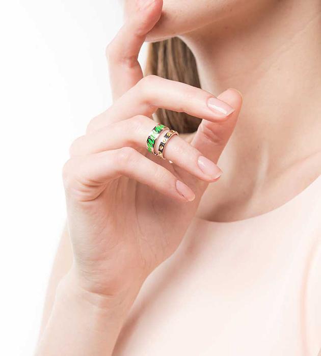 оригинальное кольцо на фалангу от Maria Francesca Pepe - Life Double Band ring