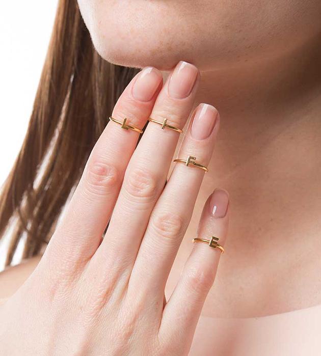 набор из 4 позолоченных колец на фалангу от Maria Francesca Pepe - Life Nail ring set