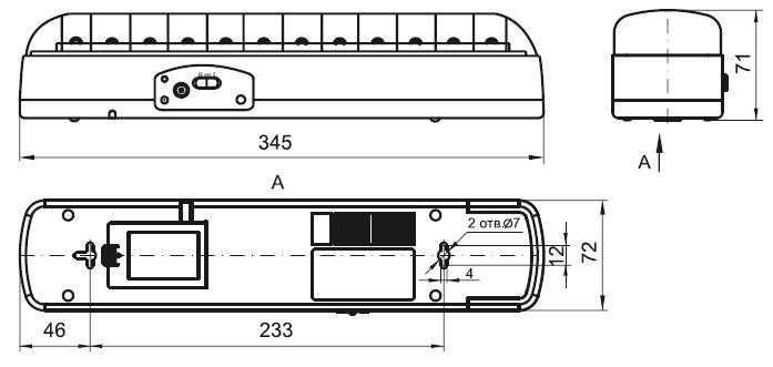 Технический чертеж на светильник ДБА 3926