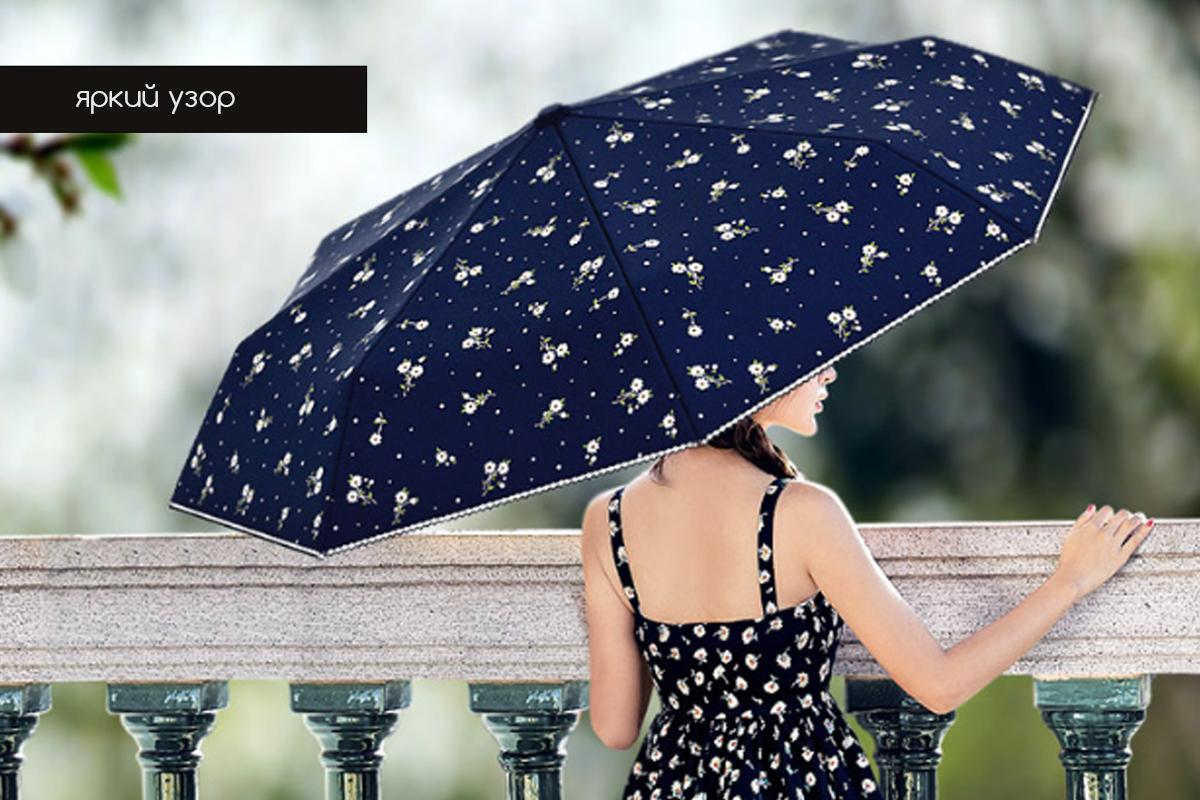 Зонт складной женский темно-синий с цветами автомат