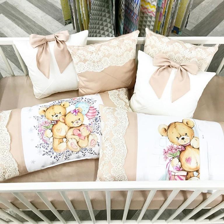 Бортики подушки в кроватку новорожденному на заказ