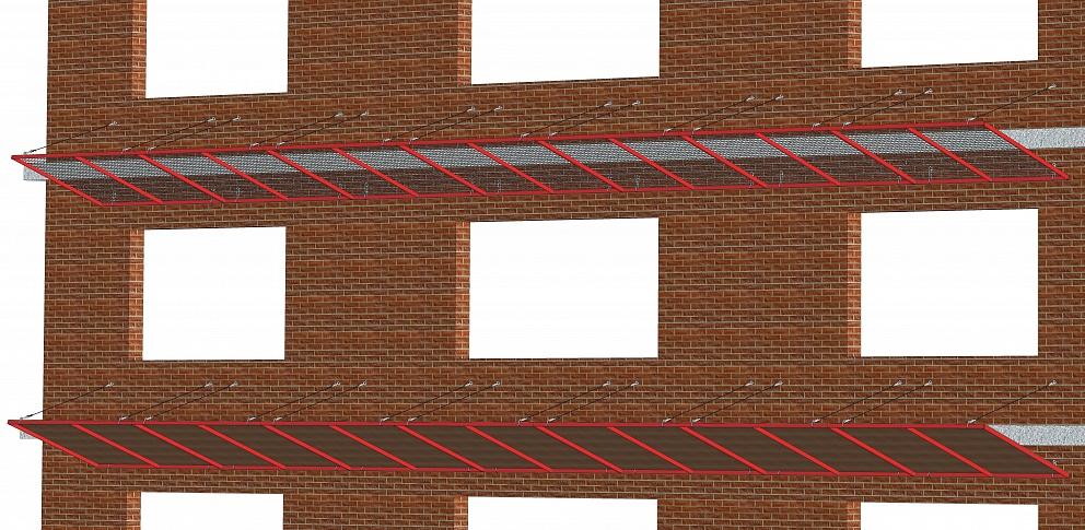 Защитно-улавливающие решетки (ЗУР) навесы и козырьки