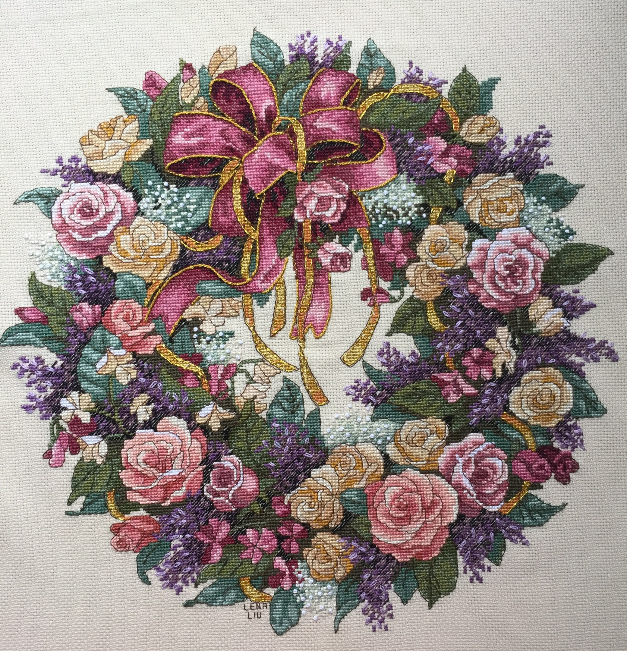 Отшив по набору для вышивания. Wreath of Roses. Венок из роз. Артикул 3837