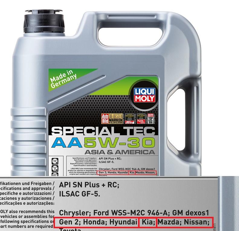 AA 5w30 LIqui Moly масло для КИА