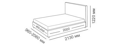 габаритные размеры кровати Венеция-Люкс вариант Эконом