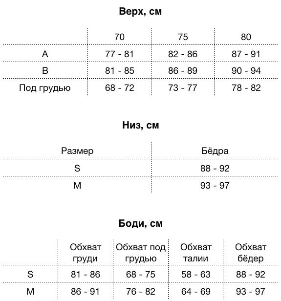 MOON Size Chart