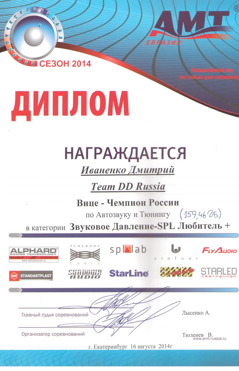 Вице-Чемпион России АМТ 2014г