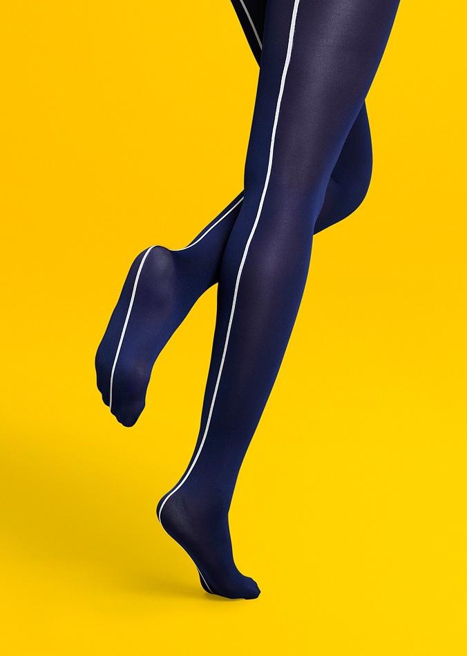 Синие яркие необычные дизайнерские фантазийные колготки с белым швом