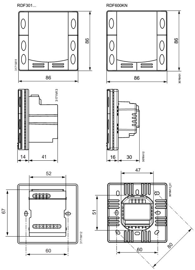 Размеры термостата Siemens RDF301.50