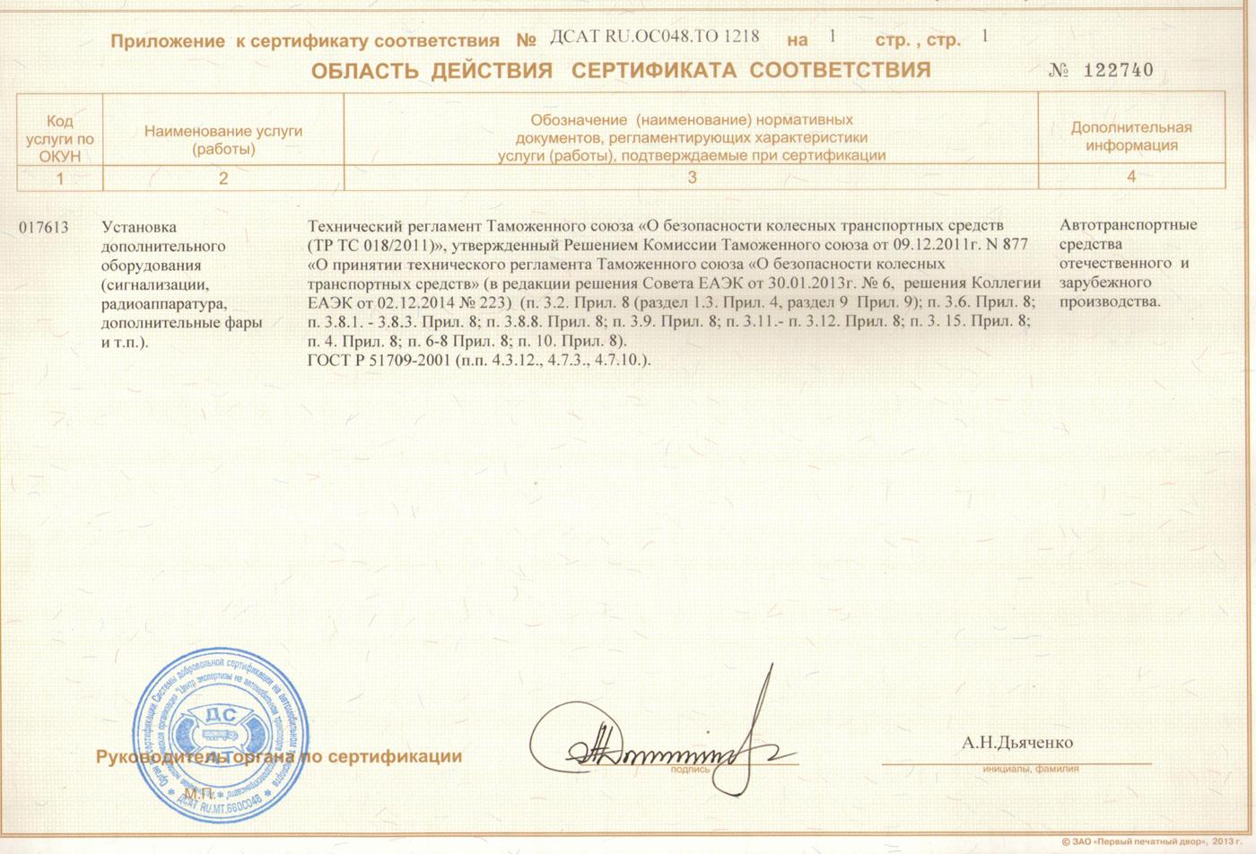 Сертификат на доп оборудование второй лист