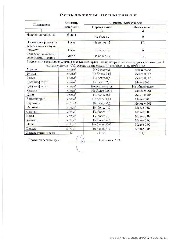 протокол испытаний на соответствии тапок Великоросс требованиям ГОСТа страница 2