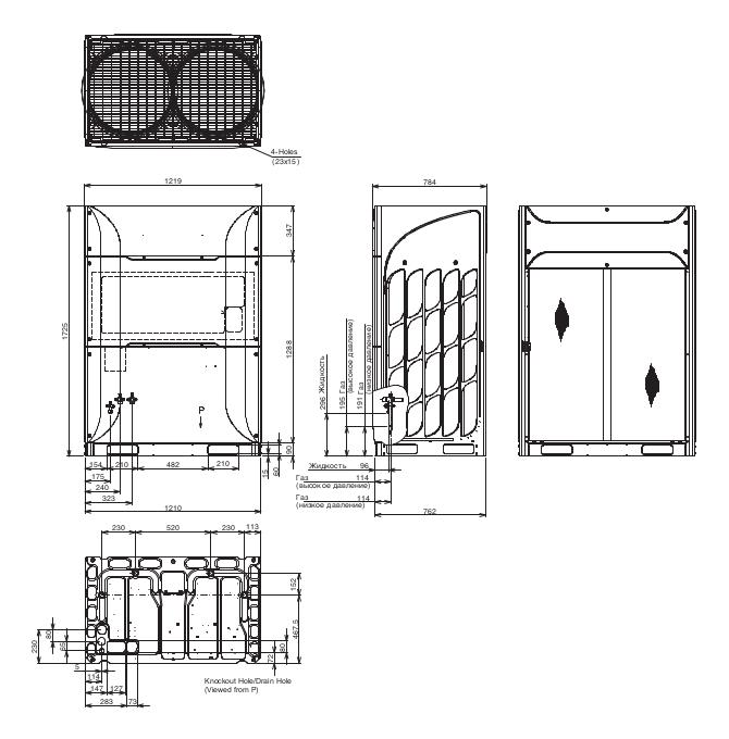 Размеры наружного блока Hitachi RAS-18FSXNSE