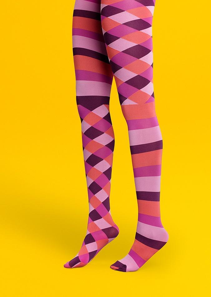 Разноцветные полосатые яркие розовые фантазийные колготки в фиолетовую и оранжевую полоску