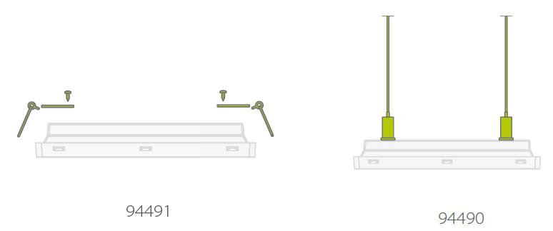 Комплекты для встраиваемого и подвесного монтажа аварийных светильников освещения высоких помещений Vella LED SCH для путей эвакуации