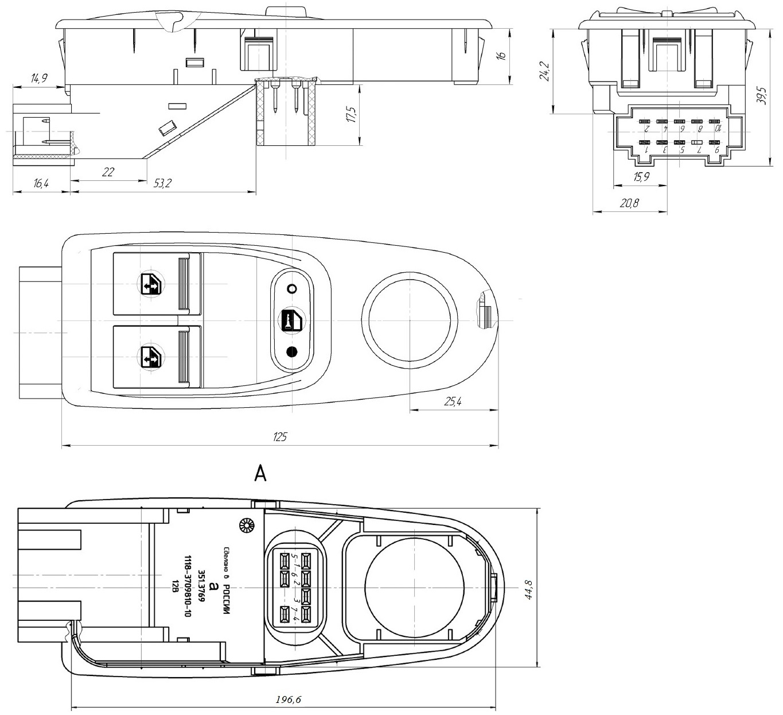 Габариты и установочные размеры блока переключателей АВАР 351.3769