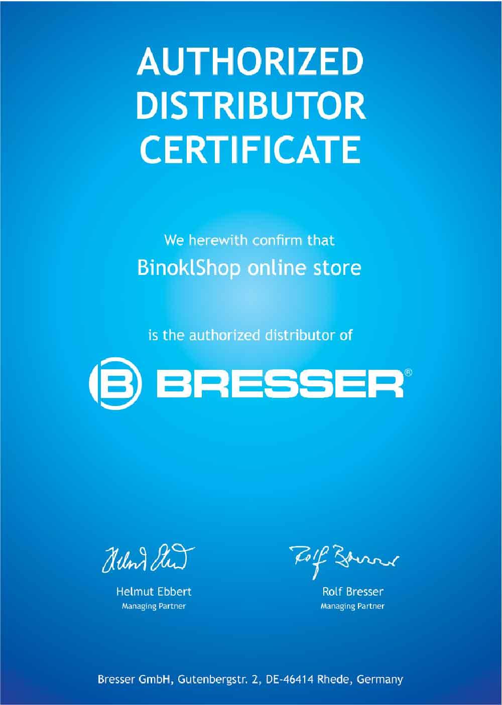 Сертификат официального дилера Bresser