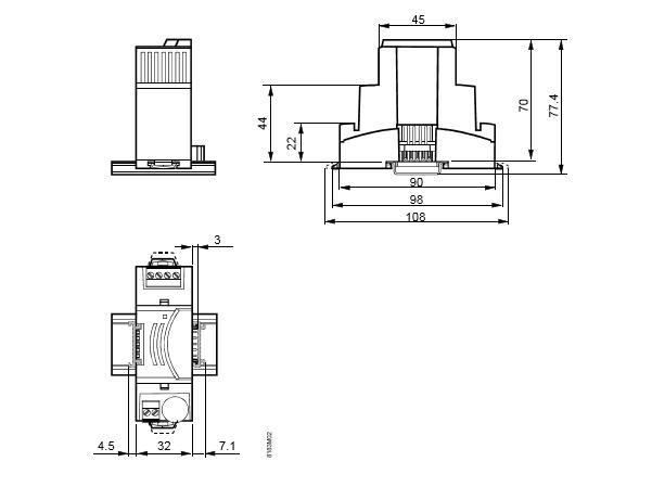 Размеры модуля подключения шины Siemens TXS1.EF10