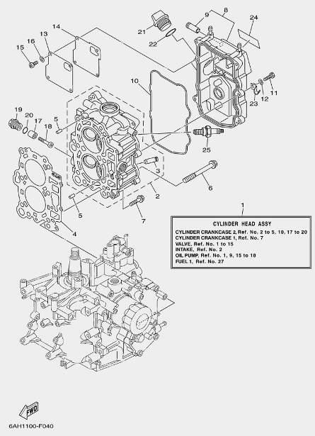 Запчастицилиндров и картера для лодочного мотора F20 Sea-PRO