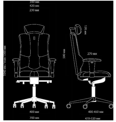Габариты кресла KULIK SYSTEM ELEGANCE