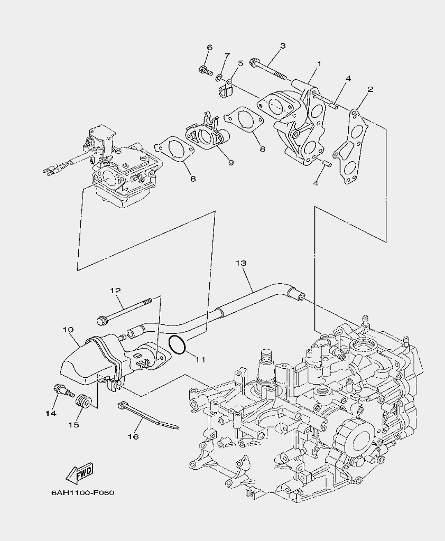 Запчасти выхлопной системы лодочного мотора F20 Sea-PRO