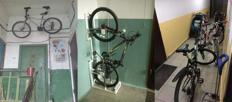 Хранение велосипедов на лестничной площадке и в тамбуре