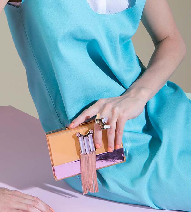 футуристичное кольцо из позолоченной латуни oт Giuliana Mancinelli - Rose Gold with cubes