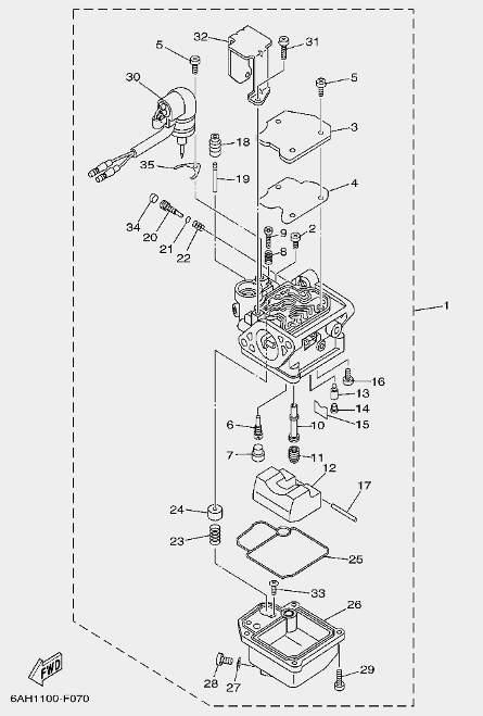 Запчастикарбюратора для лодочного мотора F20 Sea-PRO