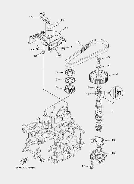 Масляный насос для лодочного мотора F20 Sea-PRO