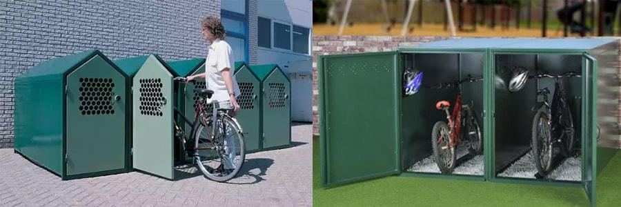 Железные гаражи для хранения велосипедов летом