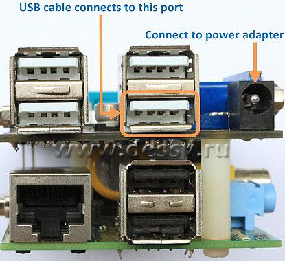 USB разъёмы и коннектор питания интерфейсного модуля X100 для Raspberry PI