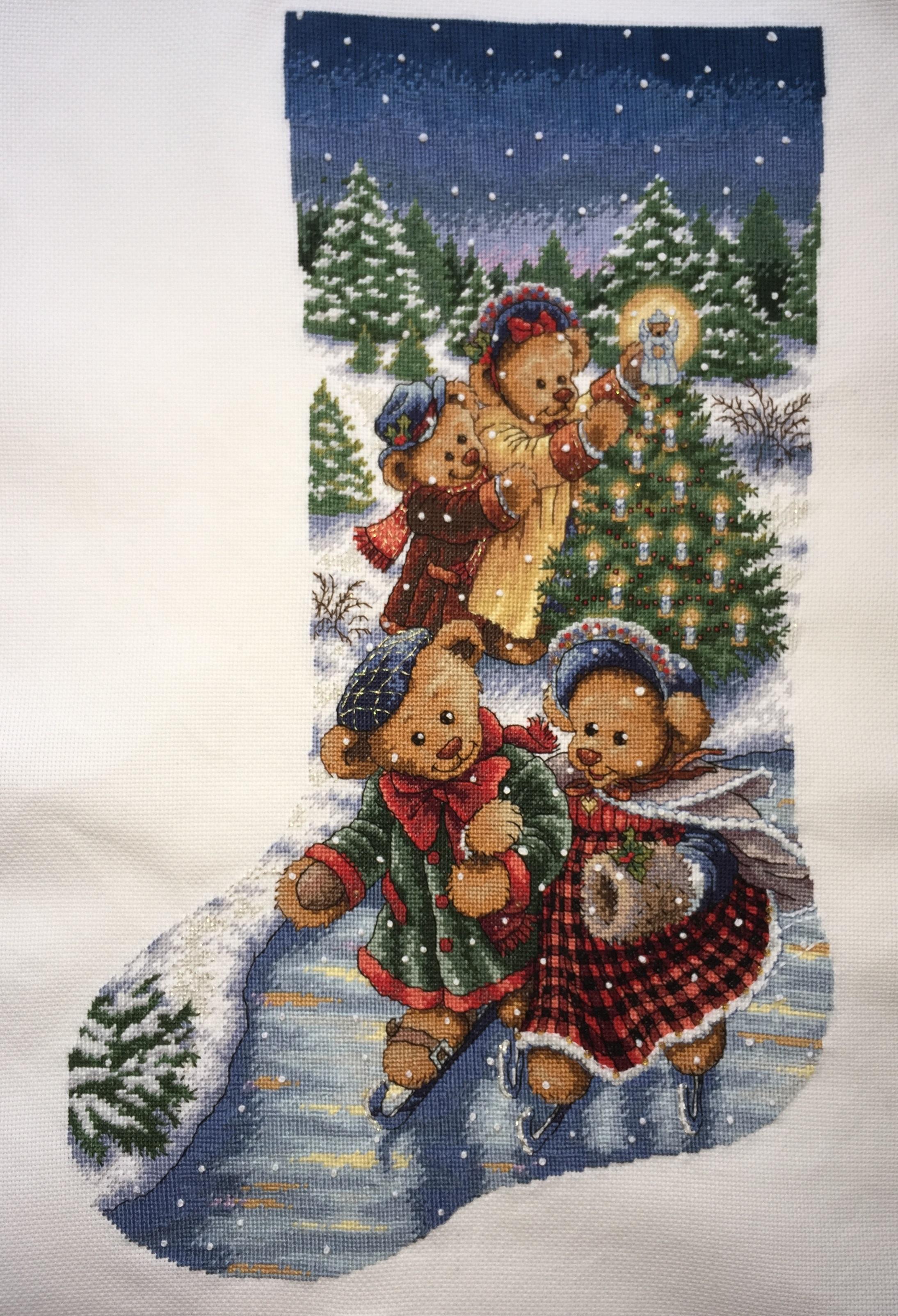 Отшив по набору для вышивания. Victorian Bears Stocking. Викторианские мишки. Сапожок. Артикул 8753