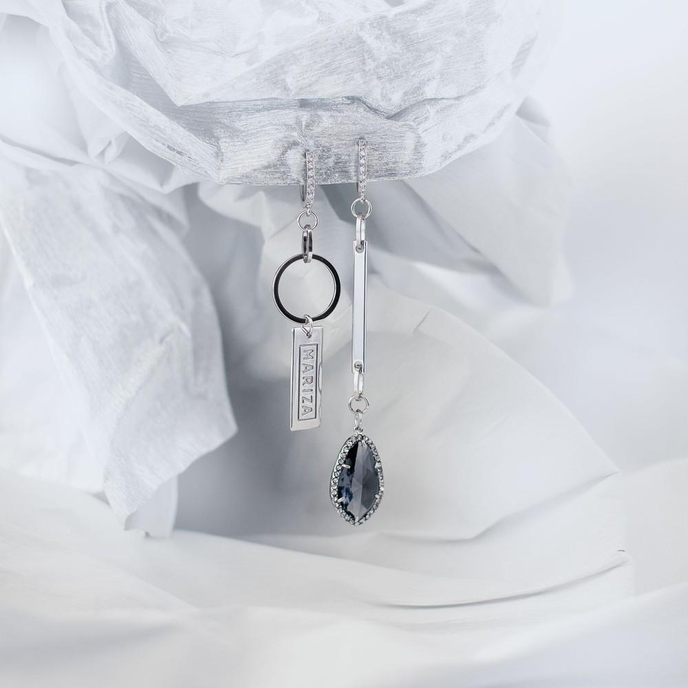 Асимметричные серьги с покрытием белого золота 16К, Марина Паскуаль
