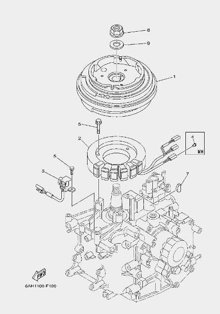 Запчасти генератора лодочного мотора F20 Sea-PRO