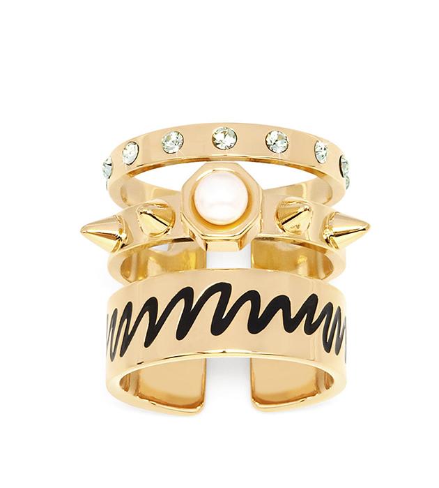 оригинальное тройное кольцо Life Triple с кристаллами, эмалью и жемчужиной от MFP