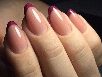 Вариации френча для ногтей миндальной формы