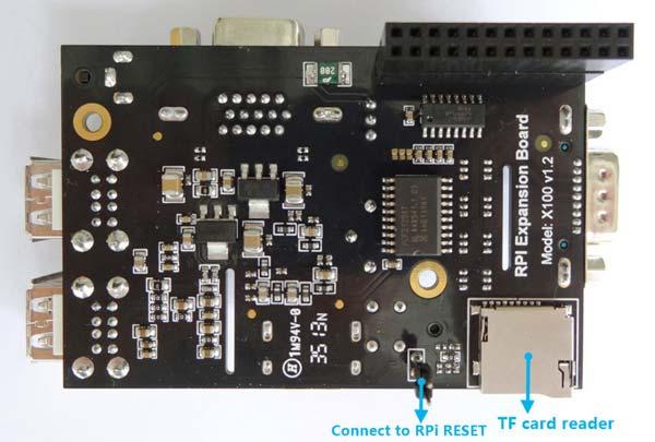 Интерфейсный модуль X100 для Raspberry Pi. Вид снизу.