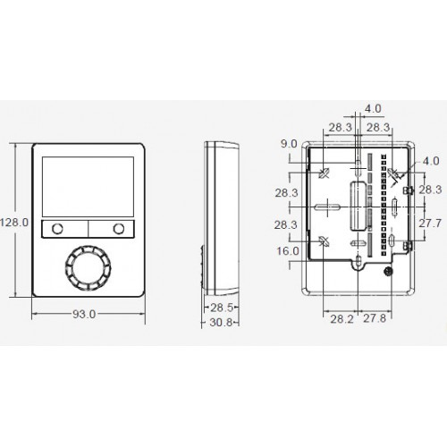Размеры термостата Siemens RDG100KN