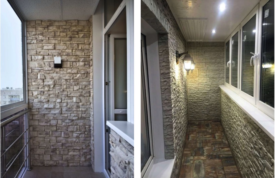 отделка балкона камнем