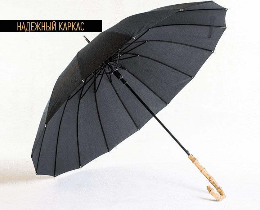 Зонт трость черный с бамбуковой ручкой | ZC bamboo umbrella handle