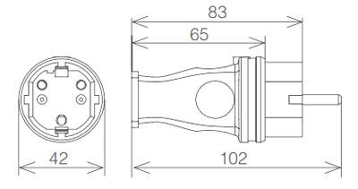 Вилка каучук 16А 220В IP44 габарит
