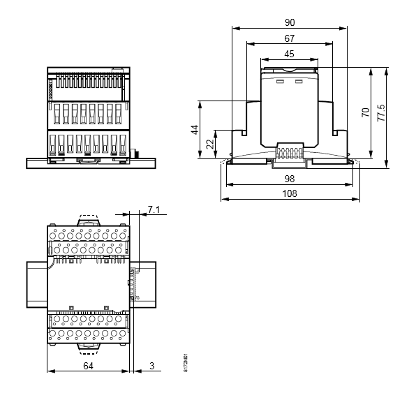 Размеры модуля 8 универсальных входов/выходов Siemens TXM1.8U