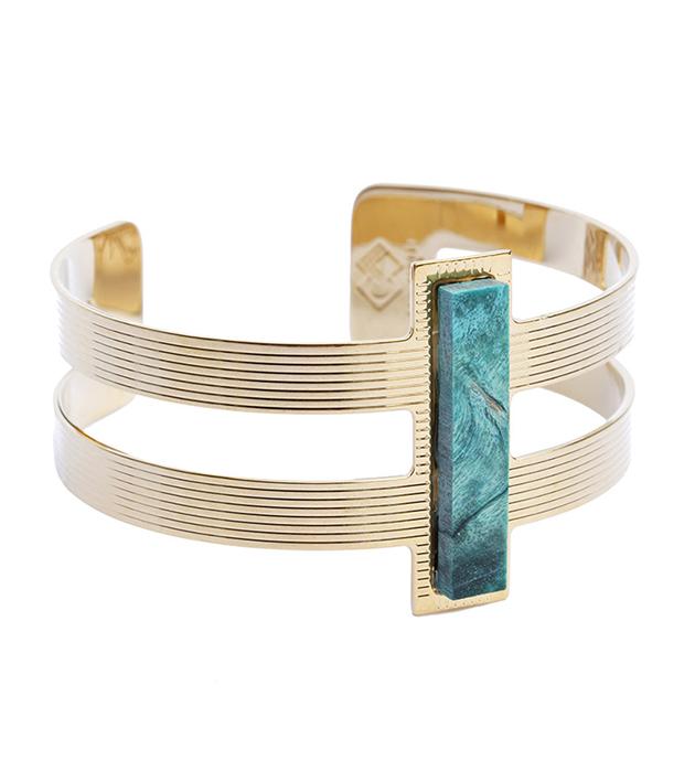 браслет Byzance Vert из позолоченной латуни и натурального дерева от Chic Alors Paris