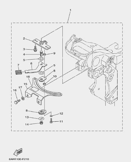 Запчасти румпеля ч.2 для лодочного мотора F20 Sea-PRO