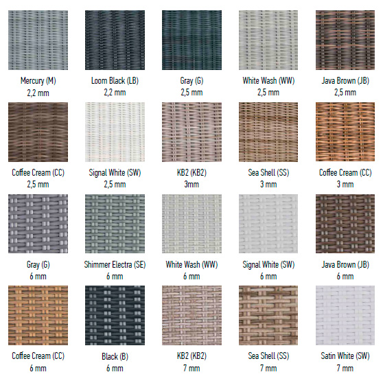 Палитра цветов и видов плетения волокна Raucord HDPE от REHAU (Германия)