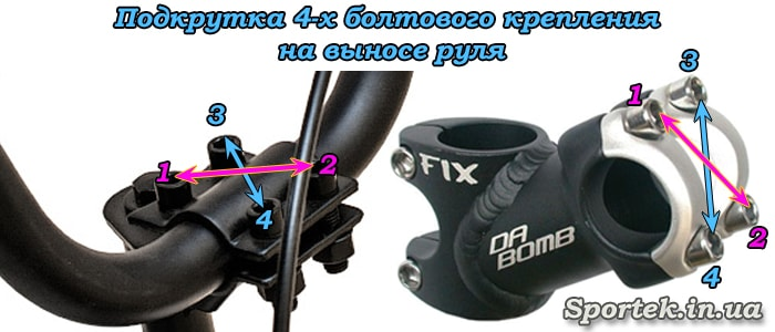Как подкручивать болты на выносе руля с четырех болтовым креплением