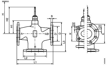 Размеры клапана Siemens VXF53.32-16