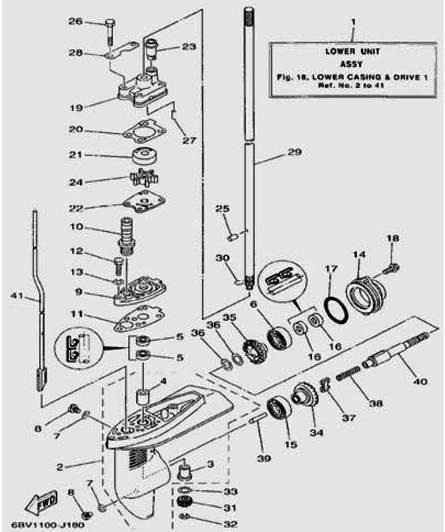 Запчасти редуктора для лодочного мотора F5 Sea-PRO