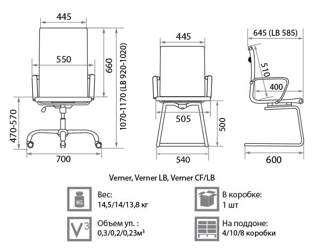 Кресло Вернер размеры