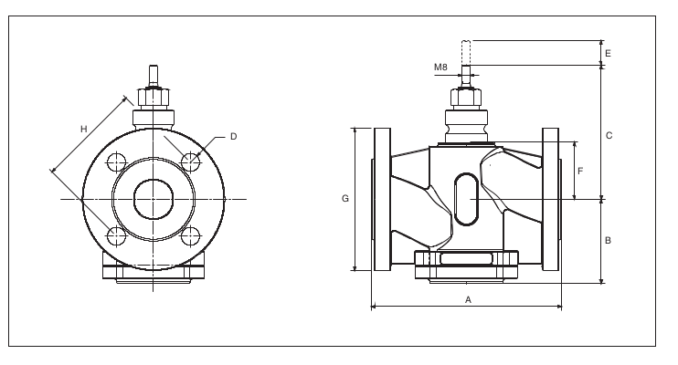 Размеры клапана  Schneider Electric V231-50-38