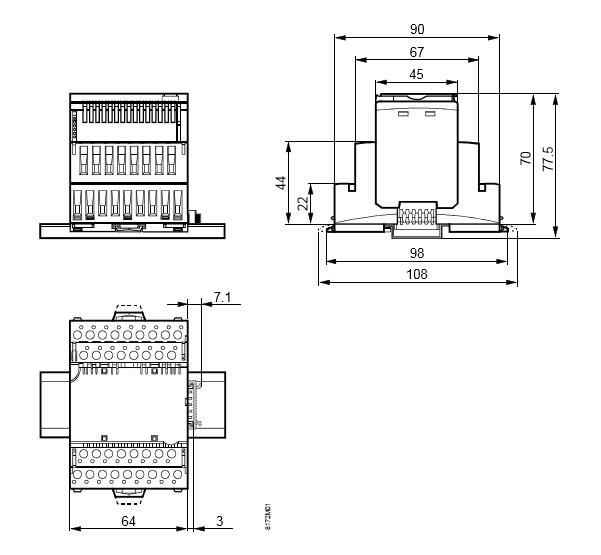 Размеры модуля 8 универсальных входов/выходов Siemens TXM1.8X